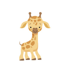 Cute little giraffe funny jungle animal cartoon vector