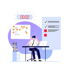 Deadline concept employee busy and hurry finish vector