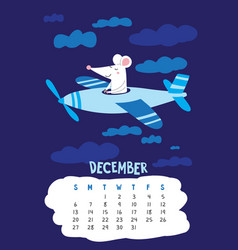 December calendar page with cute rat pilot flying vector