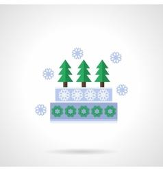 Decorative Xmas pie flat color icon vector image