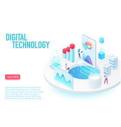 Digital and internet technology landing page vector