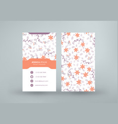 double-sided vertical business card template with vector image