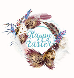 easter wreath with feathers and florals for design vector image