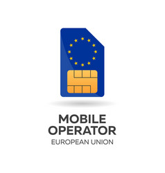 european union mobile operator sim card with flag vector image