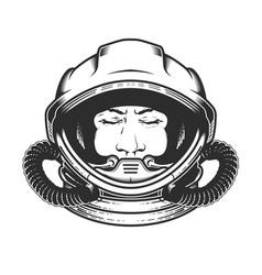 Face astronaut in space helmet portrait vector