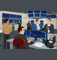 Financial stock trader working in a trading room vector
