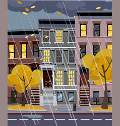 flat cartoon autumn rainy vector image