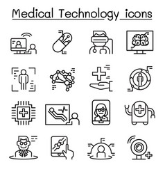 Futuristic medicine medical technology icon set vector