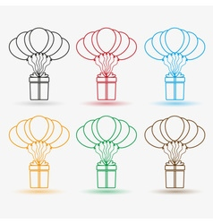 gift package soaring with helium balloons outline vector image