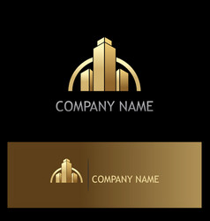 Gold building construction business logo vector