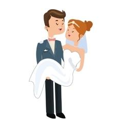 groom carry bride icon vector image