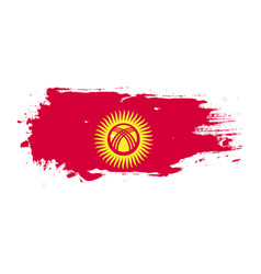 Grunge brush stroke with kyrgyzstan national flag vector