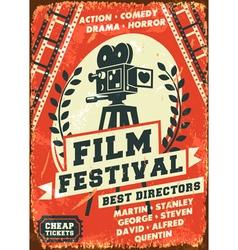Grunge retro film festival poster vector image