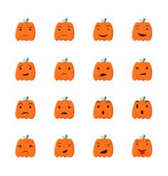 Halloween pumpkin icons set cartoon style design vector