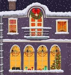Hand-drawn Christmas background with windows at vector