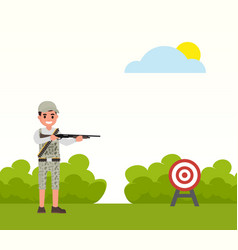 happy hunter shoots at the target huntsman vector image