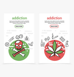 Harmful addictions vertical banners vector