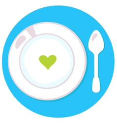 Healthy soup with heart isolated on blue circle vector image