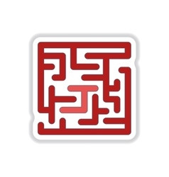 In paper sticker style Maze vector