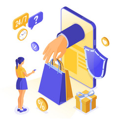 isometric online internet shopping vector image