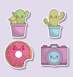 Kawaii camera and cactus icons vector