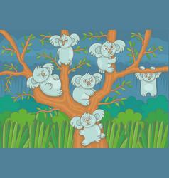 koalas on a tree vector image