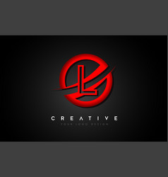 Letter l logo with a red circle swoosh design vector