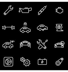 Line car service icon set vector
