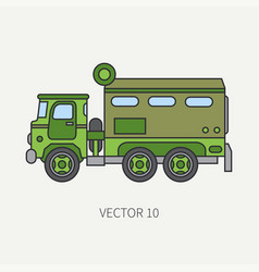 Line flat color icon armored wagon army vector
