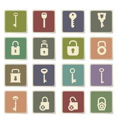 lock and key icon set vector image