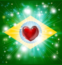 love brazil flag heart background vector image