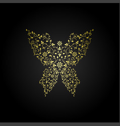 luxury butterfly sign ornamental gold design vector image