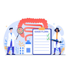 Male and female doctors studying gastrointestinal vector