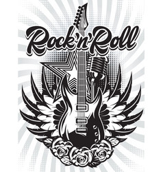 monochrome with guitar tape and text vector image