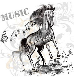 music background with running horse and notes vector image