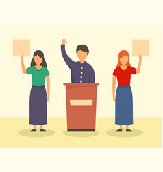 People support candidate concept background flat vector