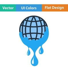 Planet with flowing down water icon vector image vector image