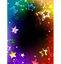 Rainbow frame with stars vector