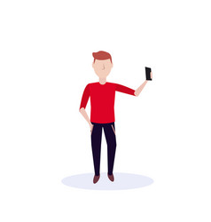 redhead man doing selfie standing pose isolated vector image