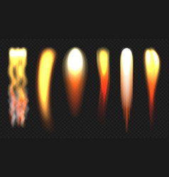 Rocket flame jets engine fire different shapes vector