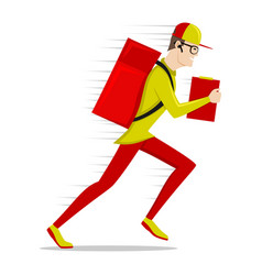 Running delivery man in a cap vector