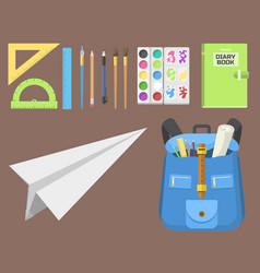School bag backpack full of supplies children vector
