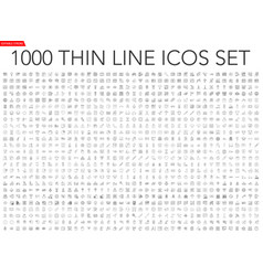 set 1000 thin line icons vector image