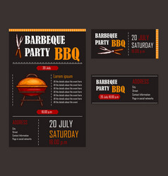 set of of a bbq menu template vector image
