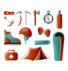 set of tools for backpacking climber set is all vector image