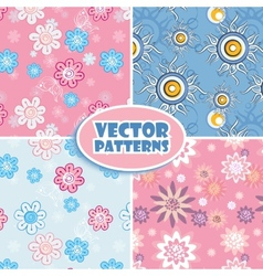 set seamless backgrounds pink and blue vector image