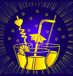 silhouette of cocktail drinks linear vector image