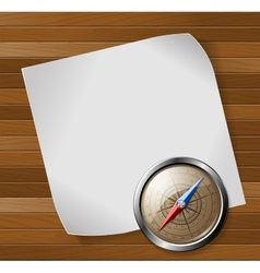 Steel detailed compass and white paper sheet over vector image
