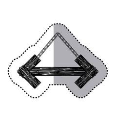 Sticker monochrome arrow shape wooden sign board vector