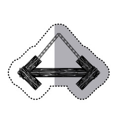 sticker monochrome arrow shape wooden sign board vector image